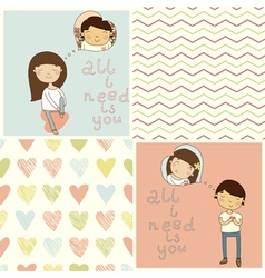 Set with cute kids card and lovely seamless patter vector image vector image