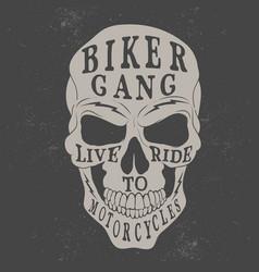 skull logo for biker theme vector image