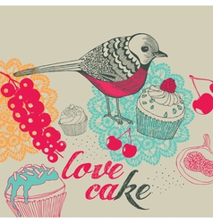 Bird and cakes vector image vector image