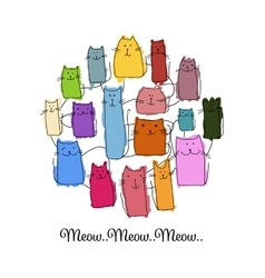 Colorful cats collection sketch for your design vector image vector image