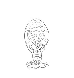 happy easter bunny giving egg vector image
