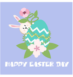 happy easter day bunny egg flower purple backgroun vector image