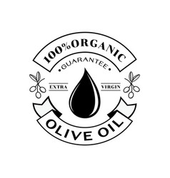 organic olive oil 100 guarantee logo vector image vector image