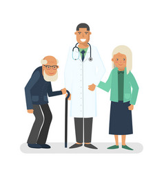 Pensioners with doctor vector