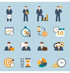 Time management flat icons set vector image