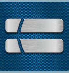 two brushed metal plates on blue perforated vector image vector image