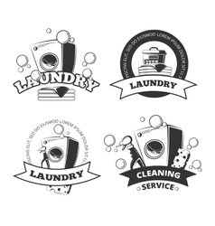 Vintage laundry service dry clean labels vector