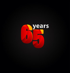 65 years anniversary red light template design vector