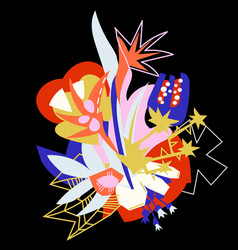abstract floral elements paper collage tropical vector image