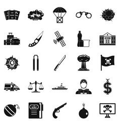 Antiterrorism icons set simple style vector