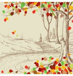 Autumn tree in the park sketch bright leaves vector image