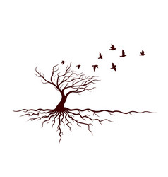 autumn tree with roots and birds vector image
