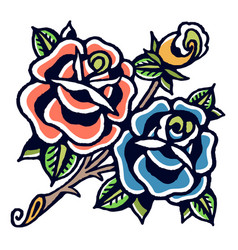 Blue and orange roses old school tattoo vector