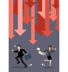 Business people run away from graph down arrows vector