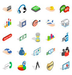 business woman icons set isometric style vector image