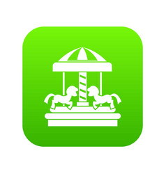 carousel with horses icon digital green vector image