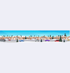 cars driving road over winter city street merry vector image