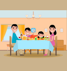 Cartoon happy family festive dinner table vector
