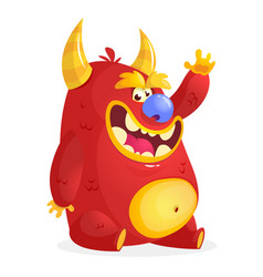 cartoon red monster vector image