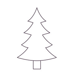 christmas tree with trunk silhouette on white vector image