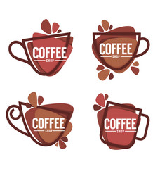 coffee shop logo collection of hot and sweet vector image