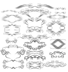 Collection calligraphic flourishes and swirls vector