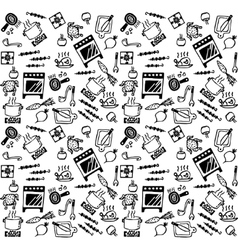Cooking objects icons black and white seamless vector