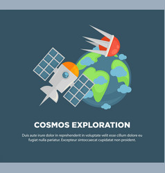 cosmos exploration advertisement banner with earth vector image