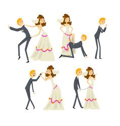 Couple of newlyweds set henpecked man husband vector