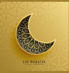 creative golden eid festival moon decoration vector image