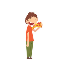 Cute boy eating pizza child enjoying eating of vector