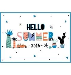 Cute Hello Summer Poster vector