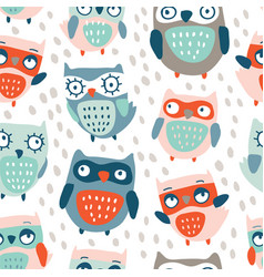 Cute owls seamless pattern vector