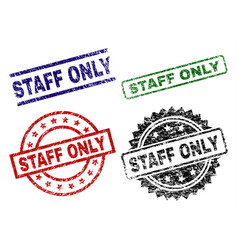 damaged textured staff only stamp seals vector image