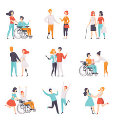 disabled people having a good time with their vector image