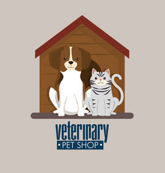 Dog and cat in wooden house pet friendly vector