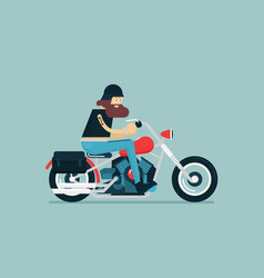 Flat classic motorcycle with brutal cartoon biker vector