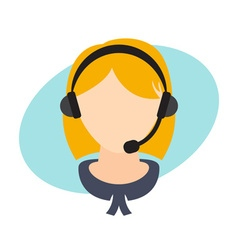 Flat design of a girl with headset vector