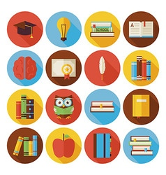 Flat Reading Knowledge and Books Circle Icons Set vector