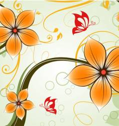 Floral abstract with butterflies vector