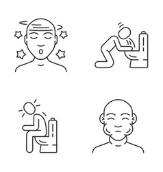 Food poisoning allergic reaction linear icons set vector