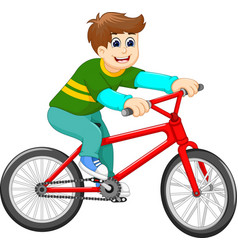 Funny boy cartoon riding bicycle vector
