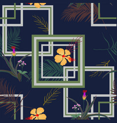 geometric seamless pattern with tropical flowers vector image