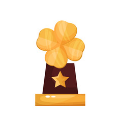 Golden award with clover leaf trophy statuette vector