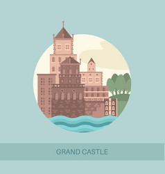 grand castle side view or screen of travel sights vector image
