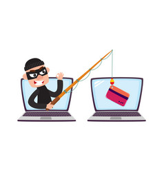 hacker in mask with fishing rod phishing attack vector image