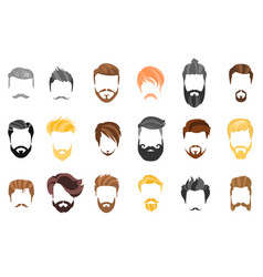 hair beard and face hair mask cutout cartoon vector image
