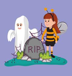 Halloween kids celebration cartoons vector