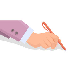 hand holds orange pen and writes on white vector image