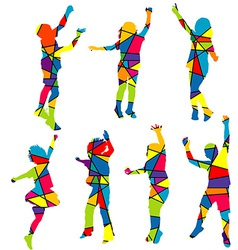 Happy children silhouettes patterned colorful vector image